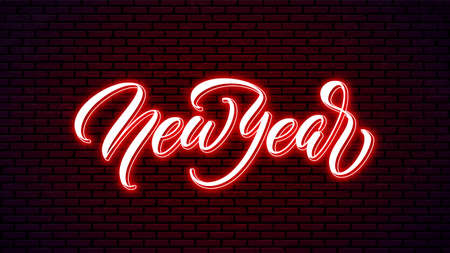New Year neon handwritten lettering. Bright holiday calligraphy. Happy New Year glowing text. 矢量图像