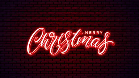 Christmas neon hand drawn lettering. Glowing holiday calligraphy isolated on wall background. Xmas neon text design. Merry Christmas handwritten lettering.