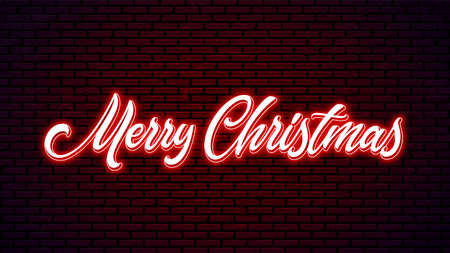 Merry Christmas neon hand drawn lettering. Bright holiday calligraphy. Xmas neon handwritten text.