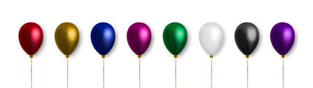 Balloon set. Realistic vector clipart for decoration. Multicolored balloons isolated on white background. Decoration elements. 矢量图像