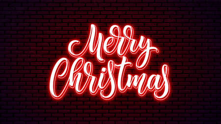 Merry Christmas neon lettering. Bright holiday calligraphy. Xmas neon handwritten text. 矢量图像
