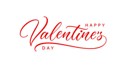 Happy Valentine's day text. Romantic hand lettering for use in postcard, invitation, card, banner template. Valentine's day elegant calligraphic text.