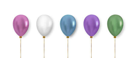 Balloon set. Realistic vector clipart for decoration. Colorful balloons in pastel color isolated on white background.
