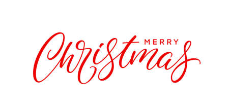 Merry Christmas text for greeting card, poster, postcard and banner. Modern Xmas holiday lettering.