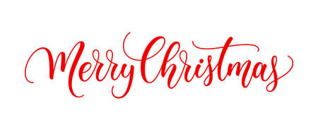 Merry Christmas text. Xmas calligraphic inscription. Christmas handwritten lettering. Xmas text isolated on white for postcard, poster, banner design element. 矢量图像