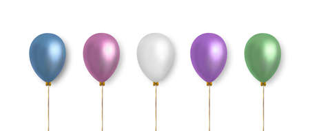 Balloons set. Realistic vector clipart for decoration. Multicolored balloons in pastel color isolated on white background. 矢量图像