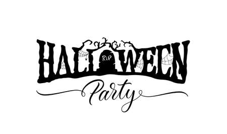 Halloween Party text. Holiday scary lettering with gravestone. Halloween hand drawn lettering.