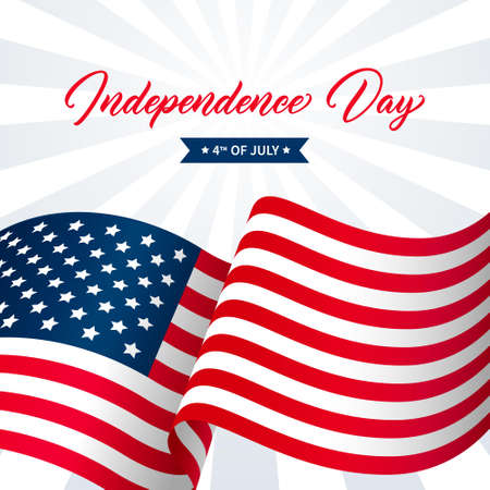 United States Independence Day greeting card design. Modern handwritten text. Independence Day 4th of July hand drawn lettering on background with flag. 矢量图像