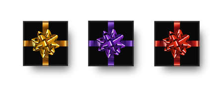 Gift box set. Realistic black gift boxes with shadows and bows isolated on white background. 矢量图像
