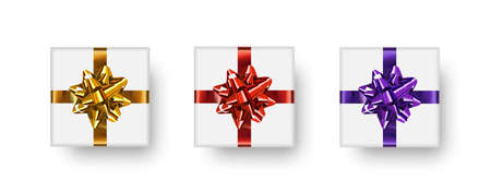 Gift box set. Realistic white gift boxes with shadows and bows isolated on white background. Vector cliparts.