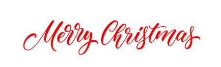 Merry Christmas banner text. Xmas holiday lettering design for postcard, poster, greeting card and banner. Christmas handwritten lettering.