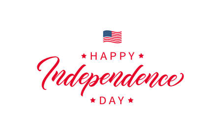 Independence Day handwritten lettering. Modern calligraphic text. Lettering design for poster, card, banner. Happy Independence Day calligraphy inscription.