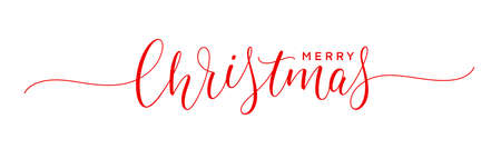 Merry Christmas text. Holiday calligraphic inscription. Xmas handwritten lettering. 矢量图像