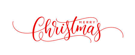 Christmas handwritten lettering. Xmas text for greeting card, poster, postcard and banner. Merry Christmas holiday text.