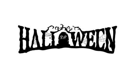 Halloween text. Vector hand drawn lettering. Scary inscription Halloween.