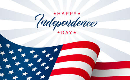 Independence Day greeting card design. Modern lettering on background with USA flag. Happy Independence Day banner design. 矢量图像