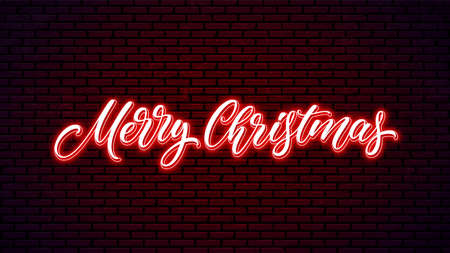 Merry Christmas neon handwritten text isolated on wall background. Xmas bright lettering design. Holiday glowing calligraphy.