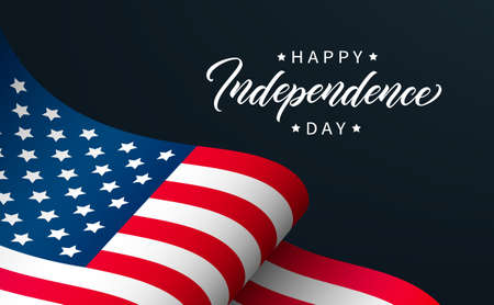 Happy Independence Day greeting card design. Modern lettering on background with USA flag.