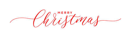 Merry Christmas text. Hand lettering typography design. Xmas calligraphic inscription. Christmas hand drawn lettering.