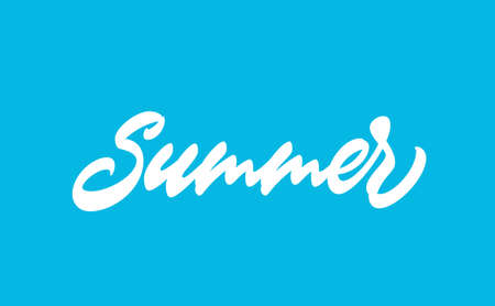 Summer handwritten word. Modern calligraphy lettering design for clothing prints. Slogan for t-shirt. Summer, hand drawn text in lettering style. 矢量图像