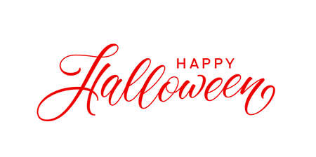 Happy Halloween text. Modern handwritten text for holiday greeting card, poster, banner. Halloween holiday lettering design.