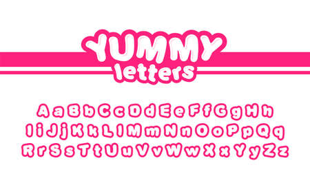 Yummy letters set design for use in print or logo. Modern children font. Kids letters.