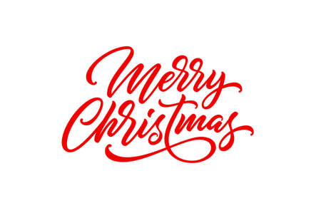 Merry Christmas text. Xmas calligraphic inscription. Christmas handwritten lettering for postcard, poster, banner design element.