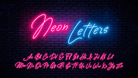 Neon handwritten letters. Glowing red font, isolated on wall background. Modern vector neon letters set.
