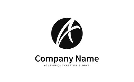 Unique initial letter A logo vector design template round shape. Creative minimalistic logo design. 矢量图像