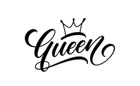Queen text. Trendy lettering for print design. Queen word with crown isolated on white background. 矢量图像