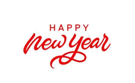 Happy New Year text. Holiday hand lettering isolated on white background.