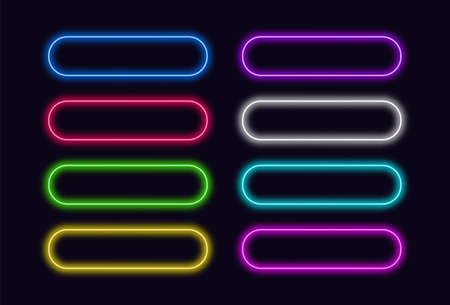 Neon buttons set for Web or UI design. Vector glowing push button. 矢量图像