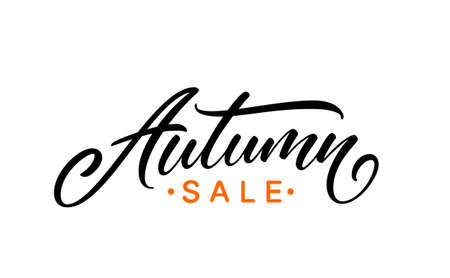 Autumn sale handwritten text. Ready modern calligraphic text for poster, brochure and banner design. Autumn sale hand drawn lettering. 矢量图像