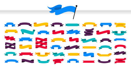 Multicolored ribbons set. Modern flat ribbons of different shapes. Ribbon banner collection. Abstract color elements. 矢量图像