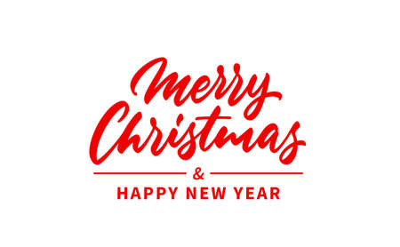 Merry Christmas and Happy New Year handwritten text. Modern calligraphy lettering.