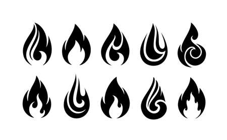 Fire flames, set vector icons isolated on white background. Abstract fire flames logo or emblem.