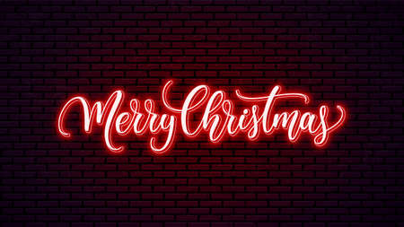 Merry Christmas neon hand lettering isolated on wall background. Holiday calligraphy. Christmas glowing text.