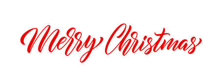 Merry Christmas hand lettering. Xmas text design for postcard, poster and banner. Merry Christmas modern calligraphic text. Xmas holiday inscription design.