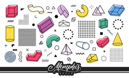 Retro elements in Memphis style for use in graphic design. Set of simple geometric shapes.