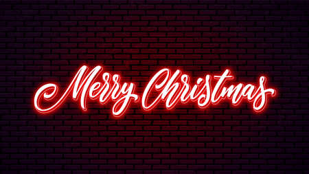 Merry Christmas neon handwritten lettering. Bright holiday calligraphy. Xmas neon text. 矢量图像