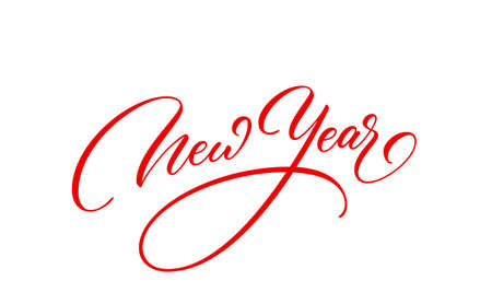 New Year text. Holiday calligraphic inscription. New Year handwritten lettering.