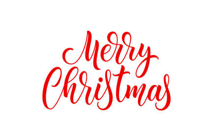 Merry Christmas handwritten text. Xmas holiday lettering design. Vector Christmas hand drawn lettering. 矢量图像