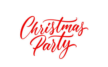 Christmas Party handwritten lettering. Modern holiday calligraphy. Vector Christmas text.