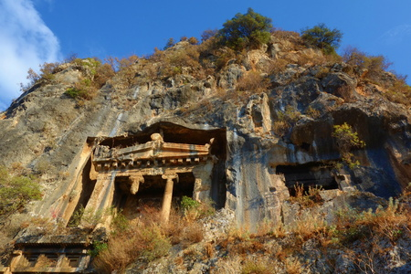 Anciant Lycian rock tombs in Turkey.