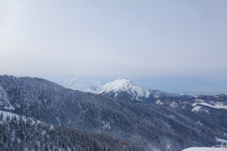 Mountain hiking trail from Kuznice to Hala Gasienicowa during winter located in Poland