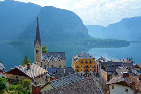 Scenic picture postcard view of famous Hallstatt mountain village in the Austrian Alps at beautiful light in summer, Salzkammergut region, Hallstatt, Austria, Europe