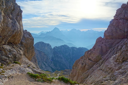 Mountain pass in Dolomites leading to the top of Cima delle Forcelle during hiking in Alps, Italy, Europe Stock Photo