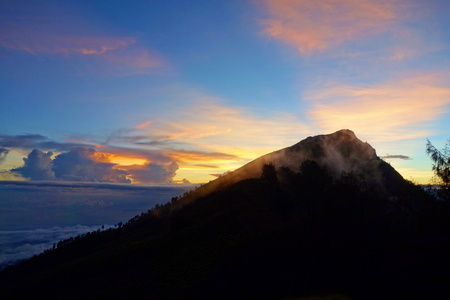 Sunrise at Rinjani volcano which is the highest point of Lombok island in Indonesia, South-East Asia