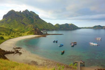 Top view of Padar Island in a morning from Komodo Island (Komodo National Park), Labuan Bajo, Flores, Indonesia, SE Asia