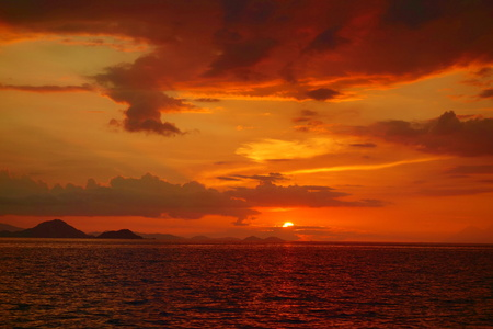 Sunset during a cruise around Komodo National Park located in Indonesia near to Labuan Bajo, South-East Asia